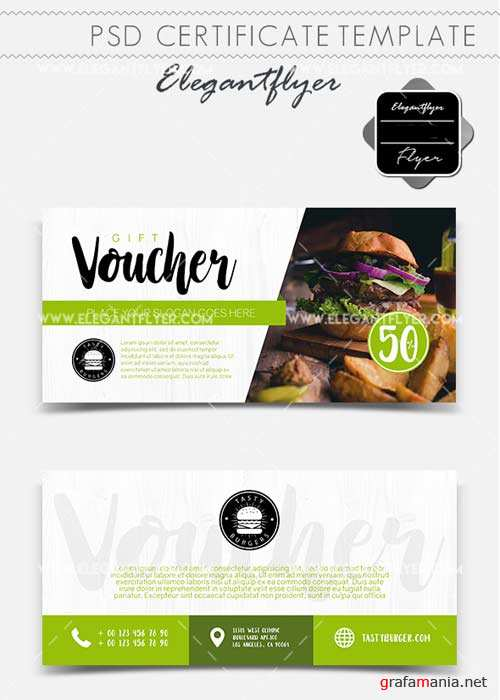 Tasty Burgers V1 2018 Gift Certificate PSD Template