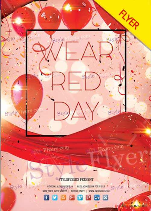 Wear Red Day V1 2018 PSD Flyer Template