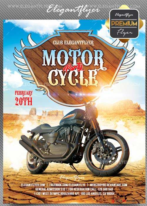 Motorcycle party V02 2018 Flyer PSD Template + Facebook Cover