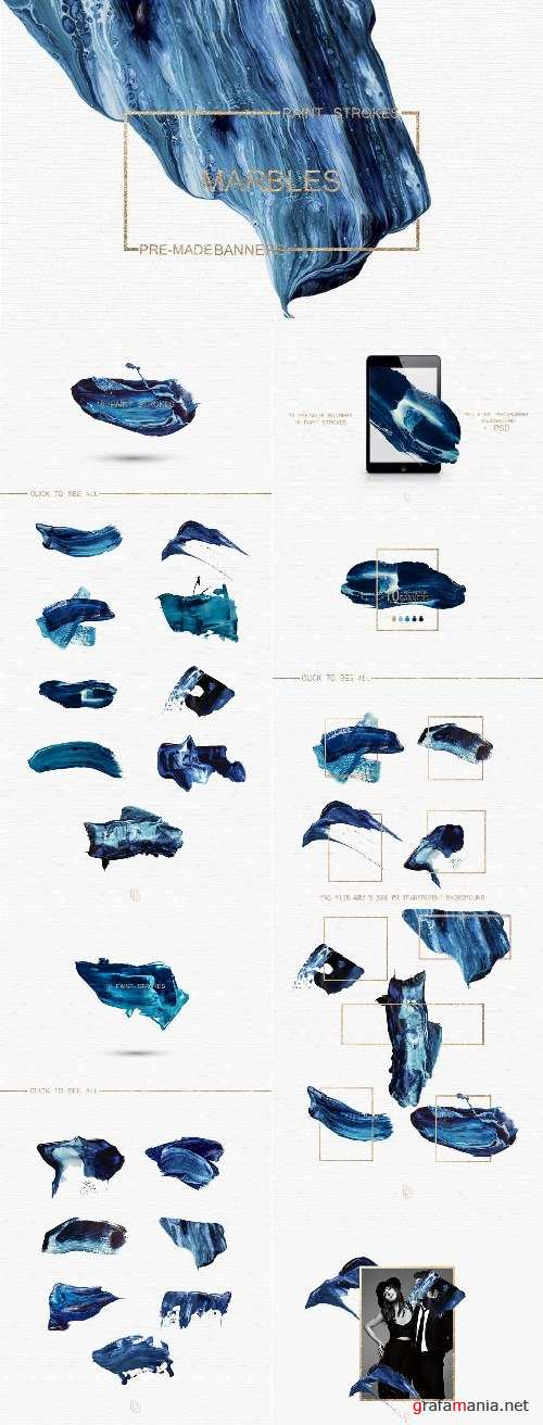 Blue Marbled; Pre-made Banners - 2108435