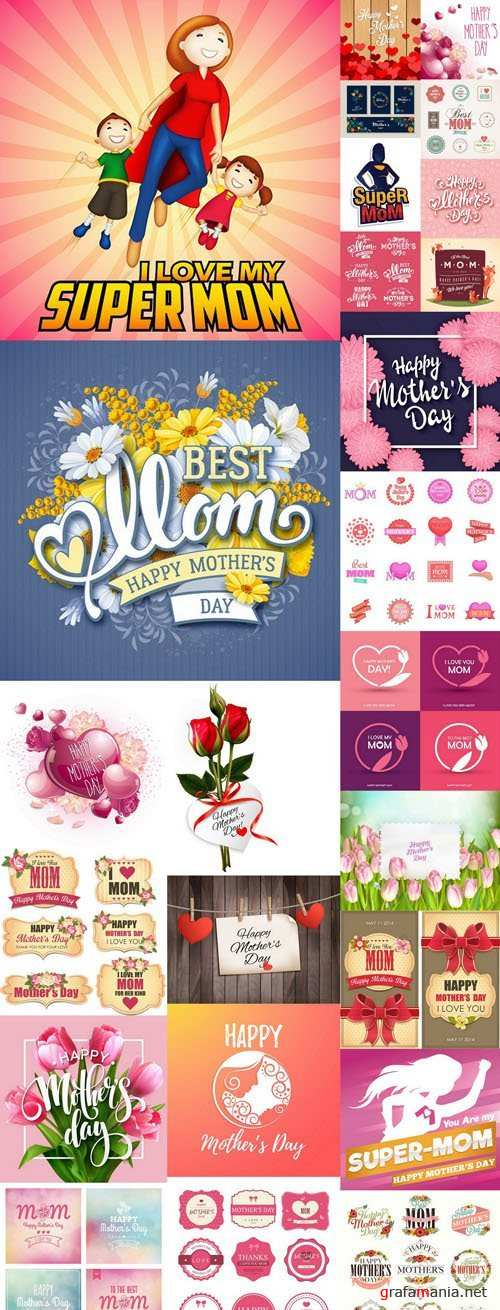 Happy Mothers Day Elements - 25 Vector