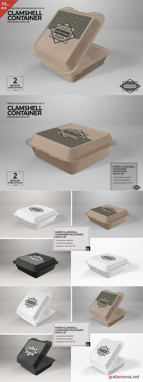 Paper Clamshell Packaging Mock Up 2183547