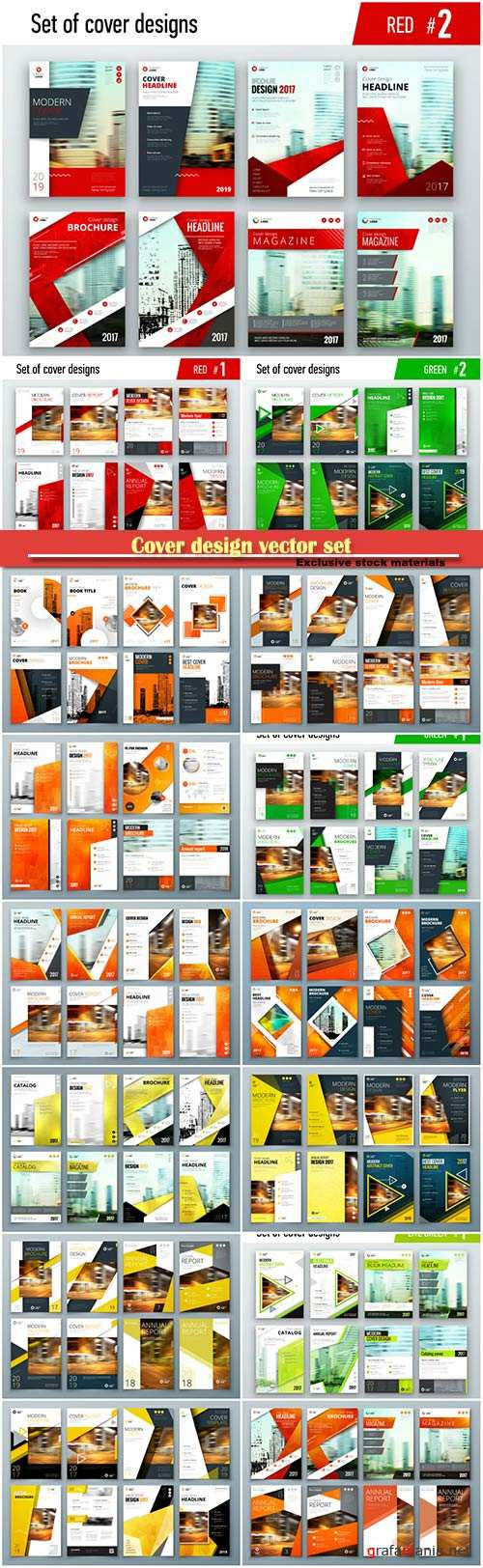 Cover design vector set, corporate business template for brochure, report, catalog, magazine