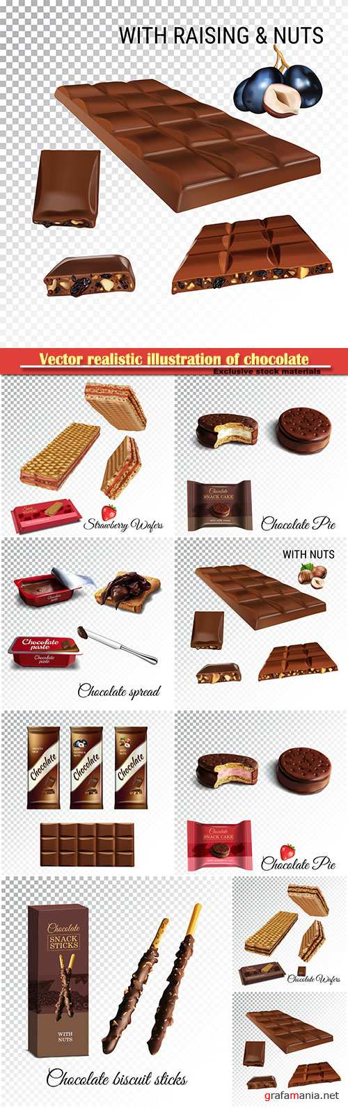 Vector realistic illustration of chocolate with milk and strawberry souffle, wafers