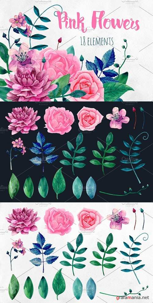 Watercolor pink flowers clip art - 2166646