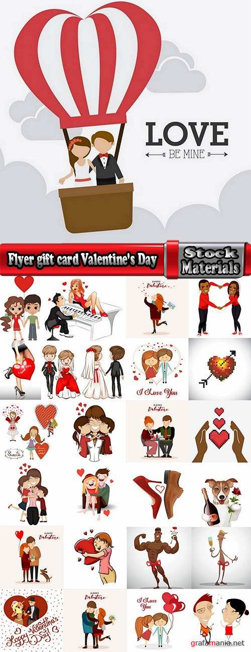 Flyer gift card Valentine's Day invitation card vector image 2-25 EPS