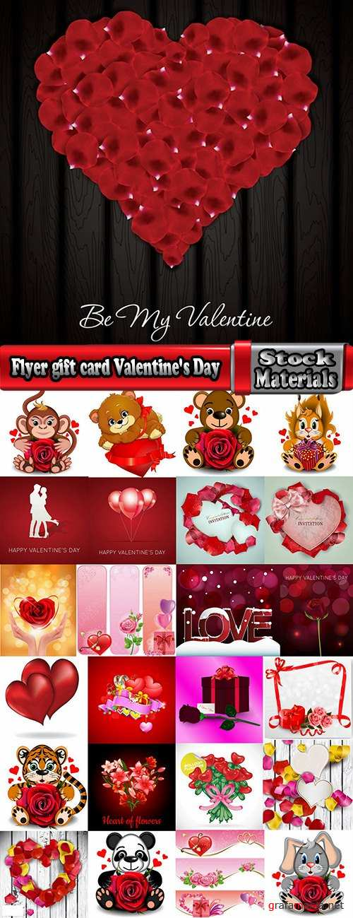 Flyer gift card Valentine's Day invitation card vector image 7-25 EPS
