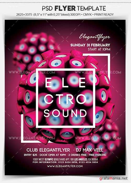 Electro Sound V1 2018 Flyer PSD Template + Facebook Cover