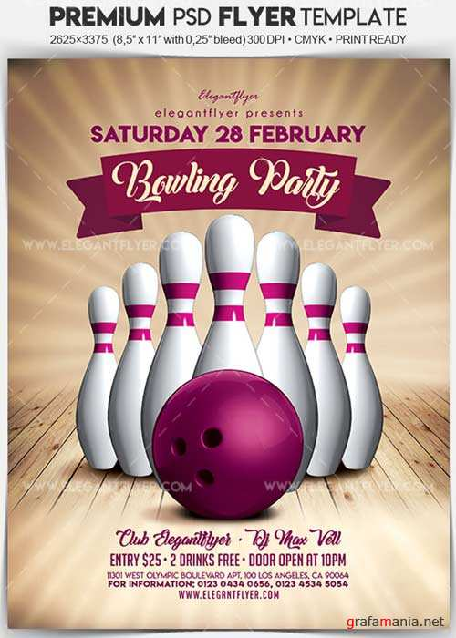Bowling Party V02 2018 Flyer PSD Template + Facebook Cover