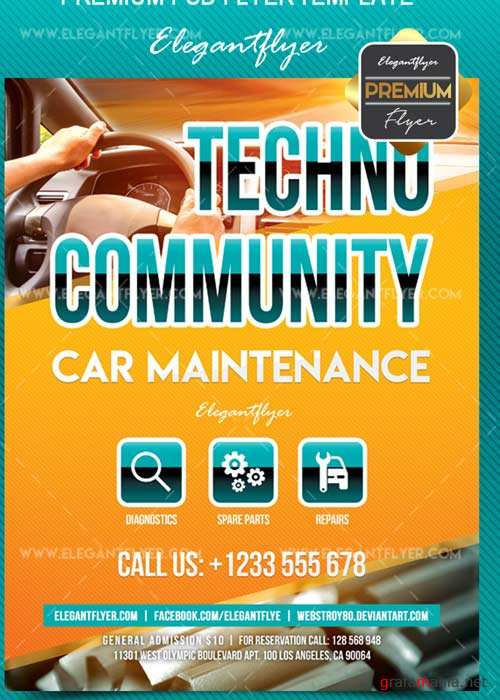 Techno Community V1 Flyer PSD Template + Facebook Cover