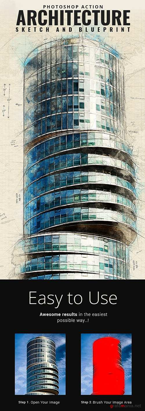 Architecture Sketch and Blueprint Photoshop Action - 21196237