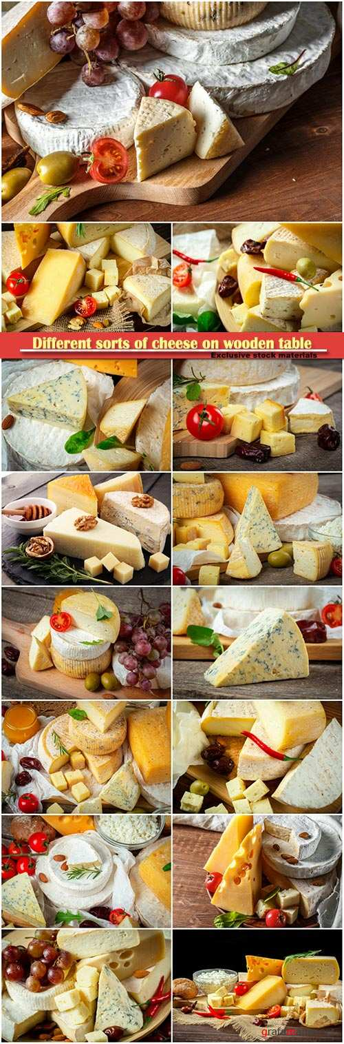 Different sorts of cheese on wooden table