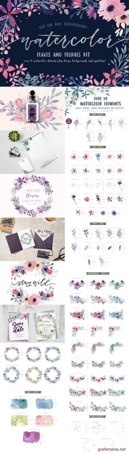Watercolor Leaves and Florals Kit - 1485476