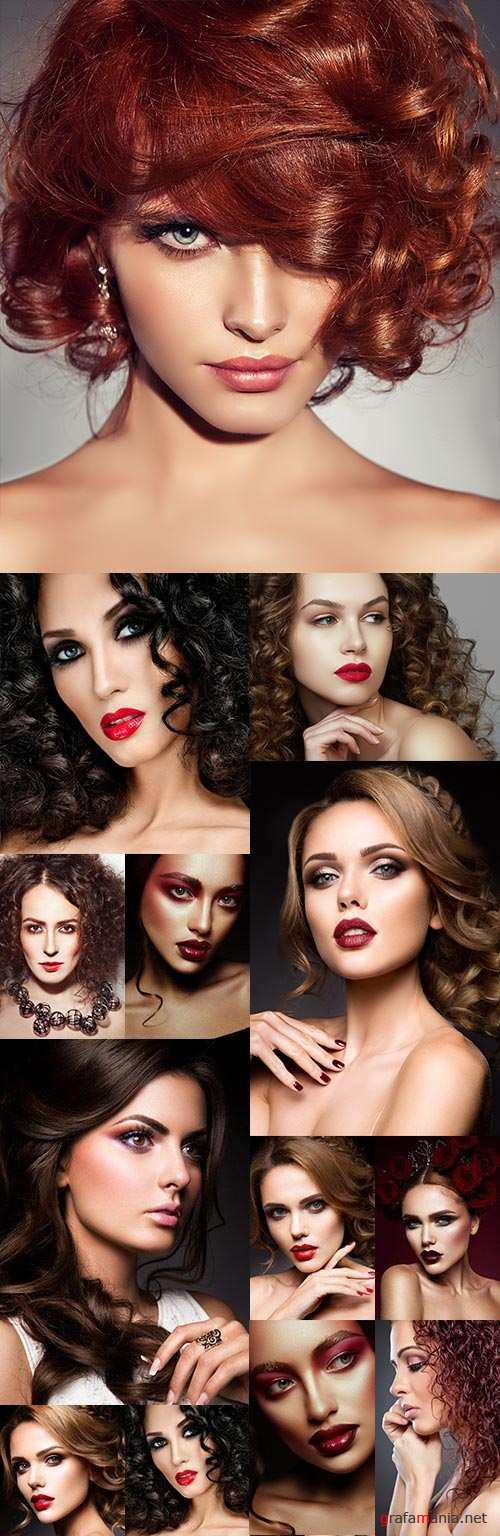 Beautiful brunettes with elegant curls and modern make-up