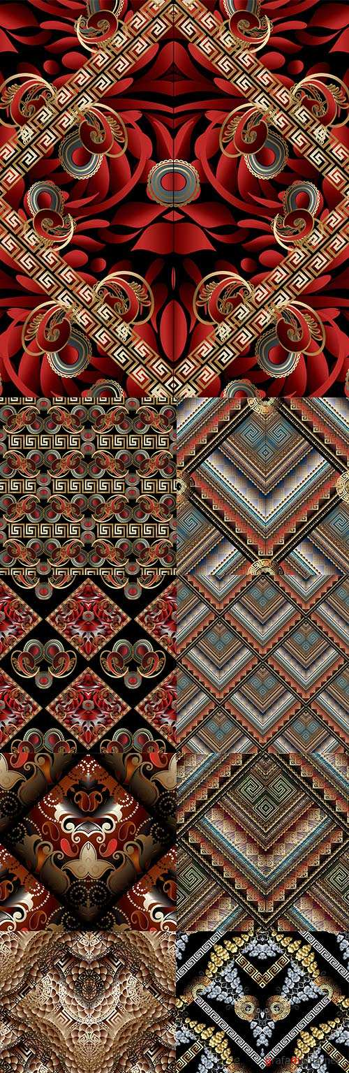 Embroidered grunge tapestry with ethnic patterns