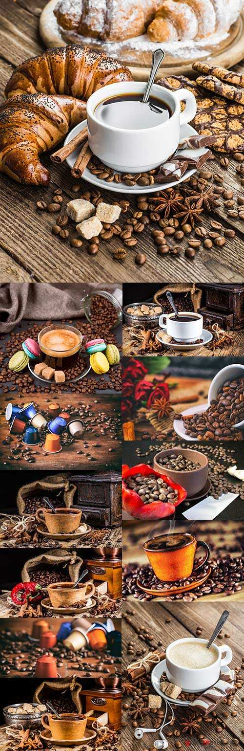 Fragrant cup of coffee by breakfast and coffee fried beans