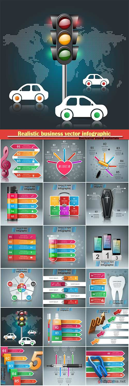 Realistic business vector infographic and marketing icon