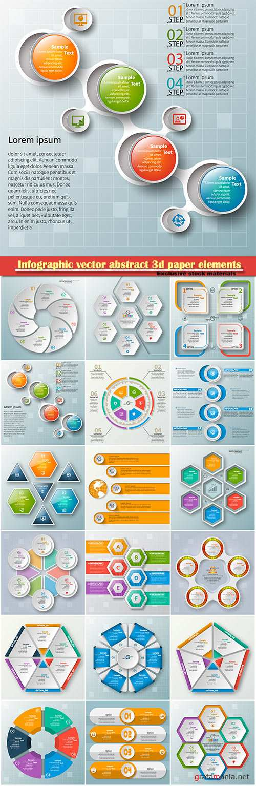 Infographic vector abstract 3d paper elements