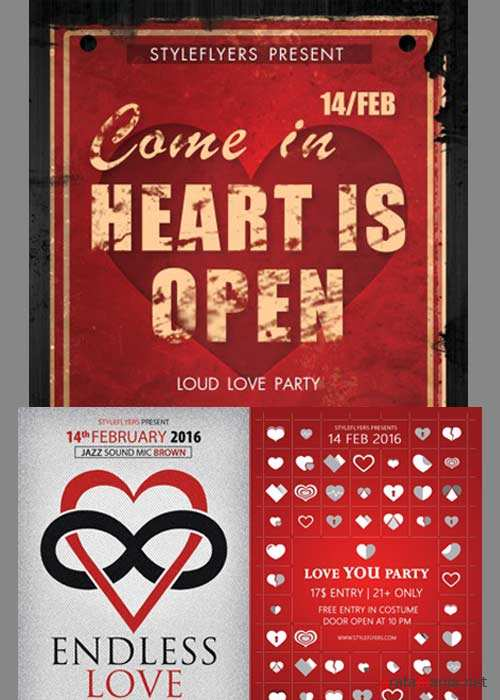 Valentines Day 3in1 V4 2018 Flyer Template