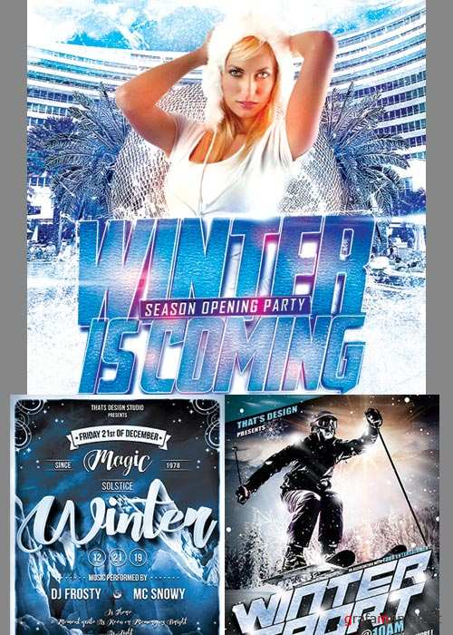 Winter Party Flyer 3in1 V3 Template