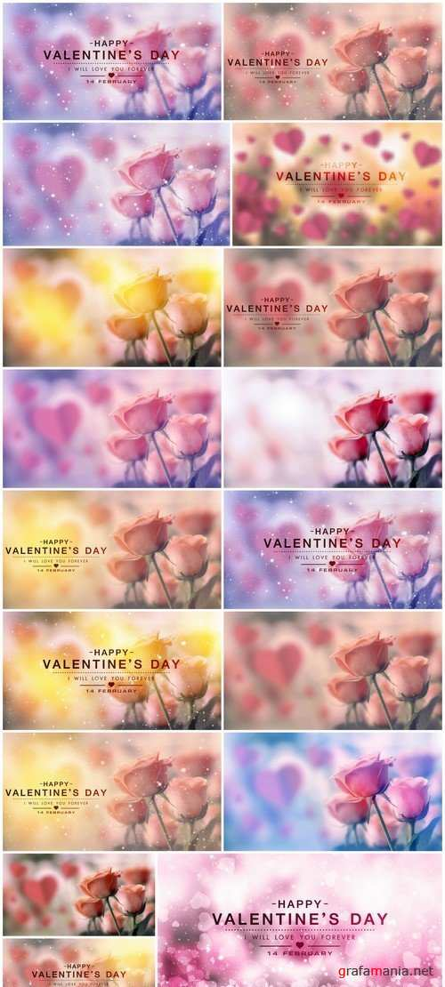 Happy valentine day, fine design with roses 17X JPEG