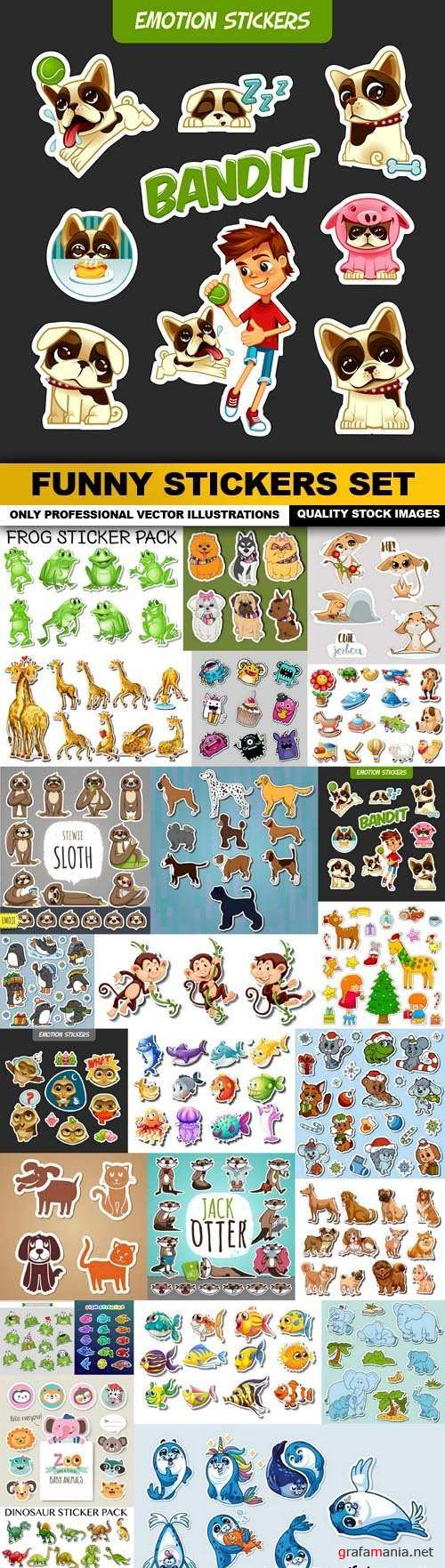 Funny Stickers Set - 25 Vector
