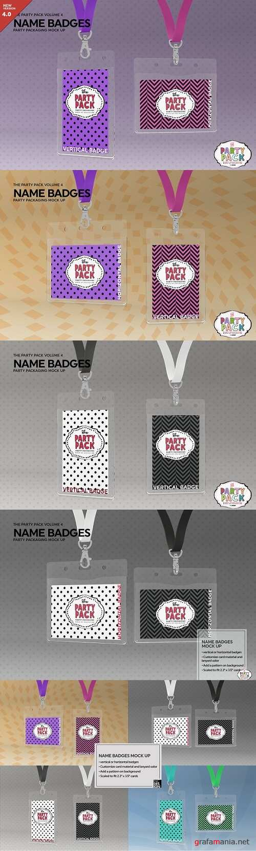 Name Badges with Lanyards Mock Up - 2199329