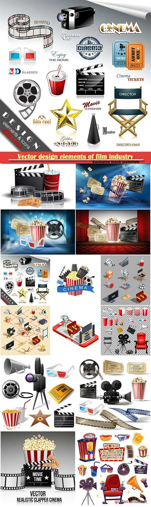 Vector design elements of film industry, popcorn, reel, tape, glasses, camcorder, movie tickets and clapper board