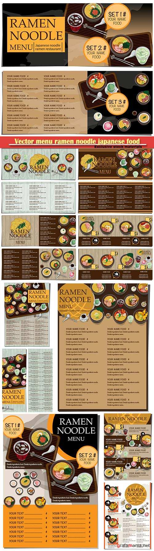 Vector menu ramen noodle japanese food template design