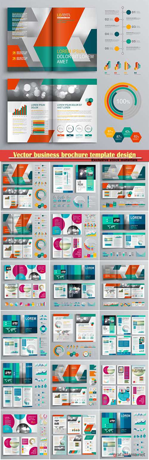 Vector business brochure template design with vertical shapes, cover layout and infographics
