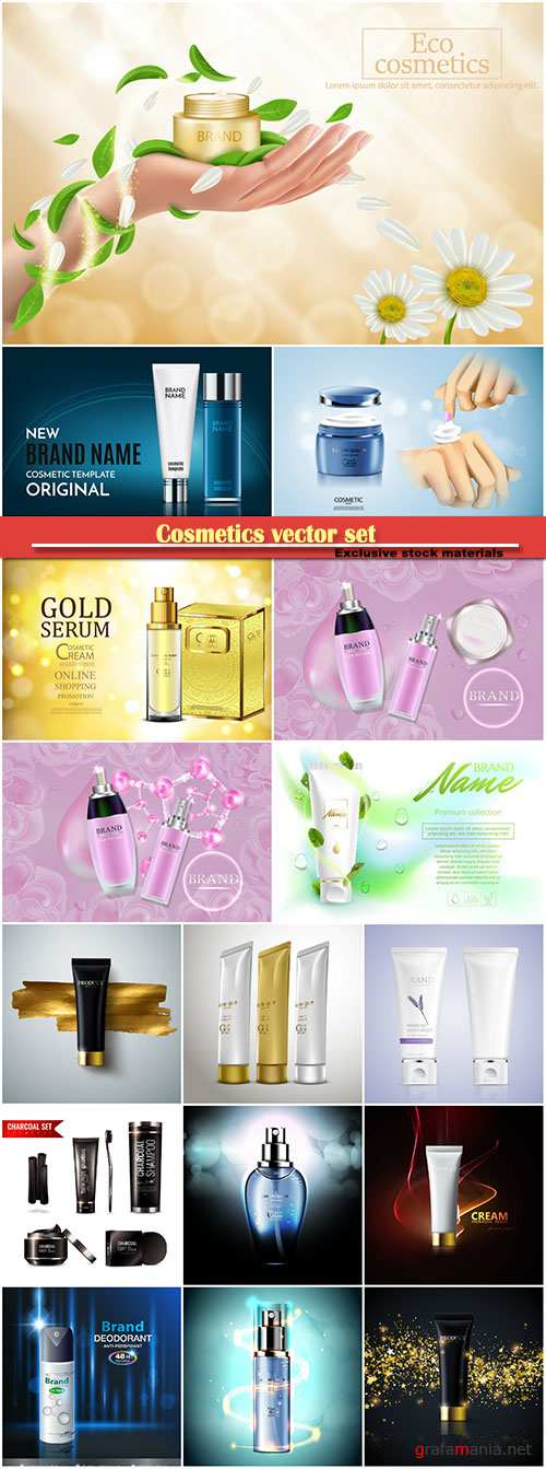 Cosmetics vector set, shampoo, mask, soap, perfume