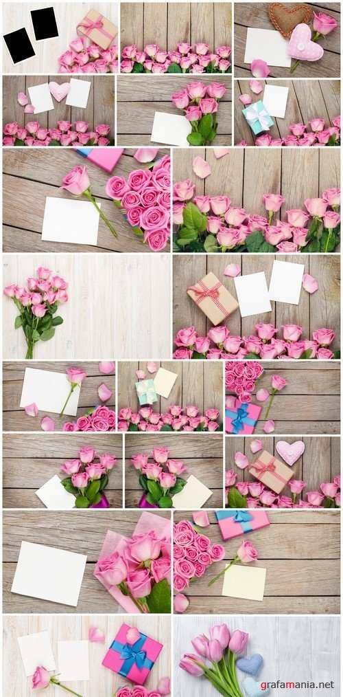 Pink roses over wooden table with valentines day gift box 20X JPEG