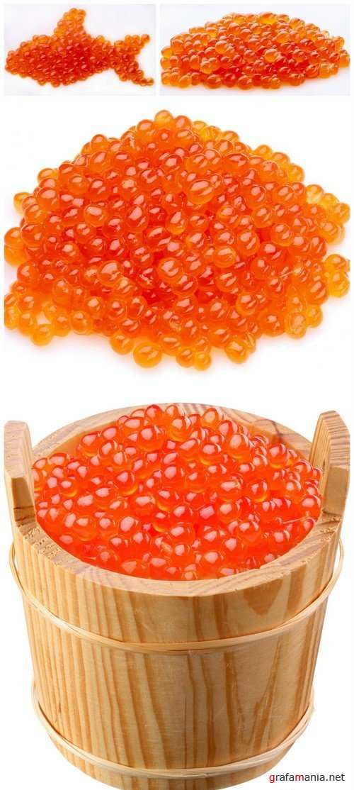 Red caviar is in a wooden bucket 4X JPEG