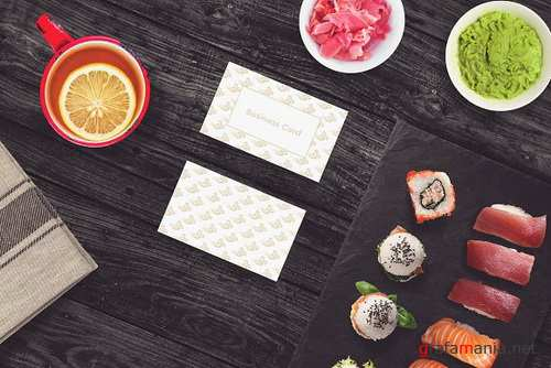 Sushi Bar Business Card Mock-up #3 2102846