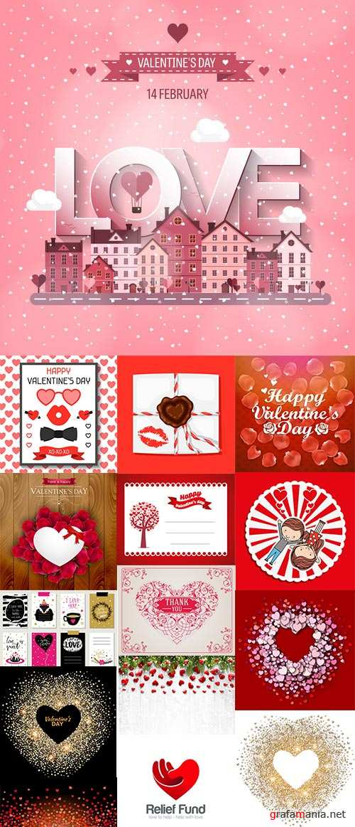 St. Valentine's Day, Hearts, Love #6, 26xEPS