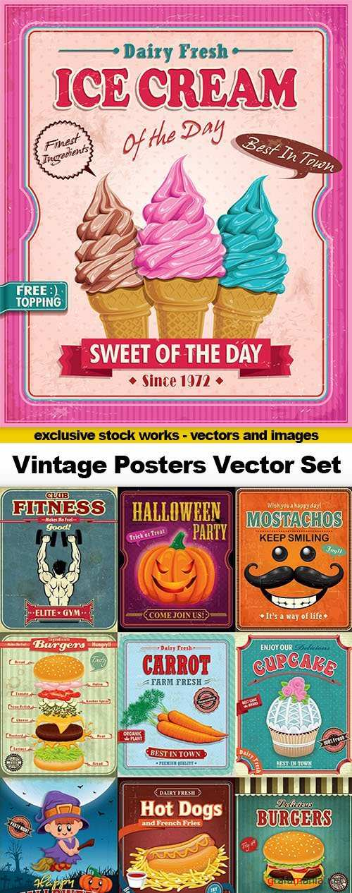 Vintage Posters Vector Set #1, 25xEPS