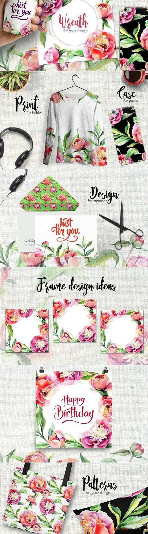 Peony flowers PNG watercolor set - 1945233