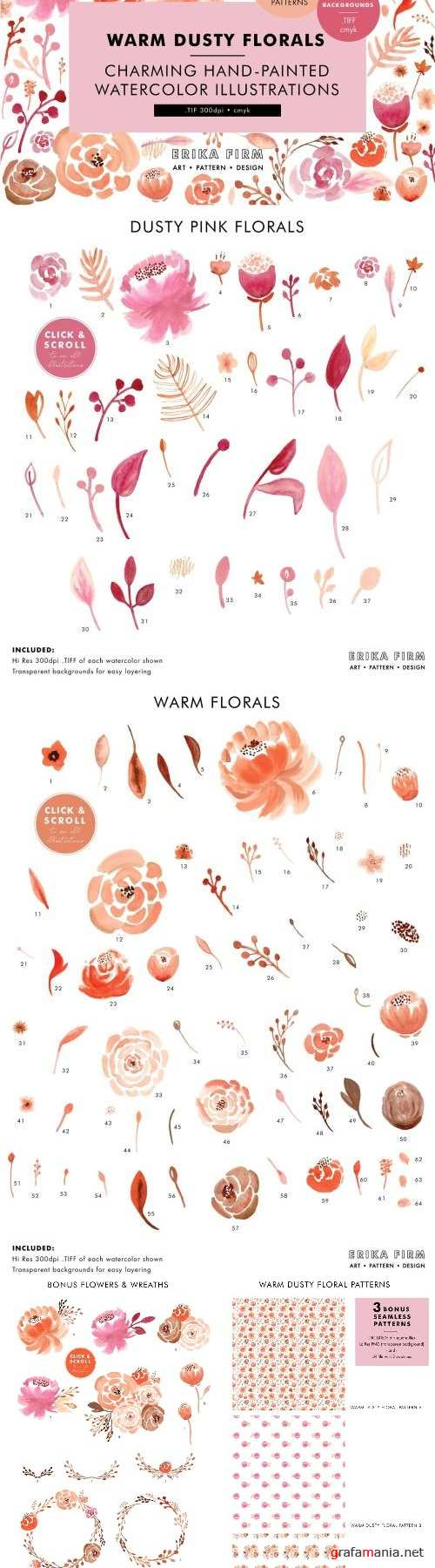 Warm Dusty Watercolor Florals - 1966376
