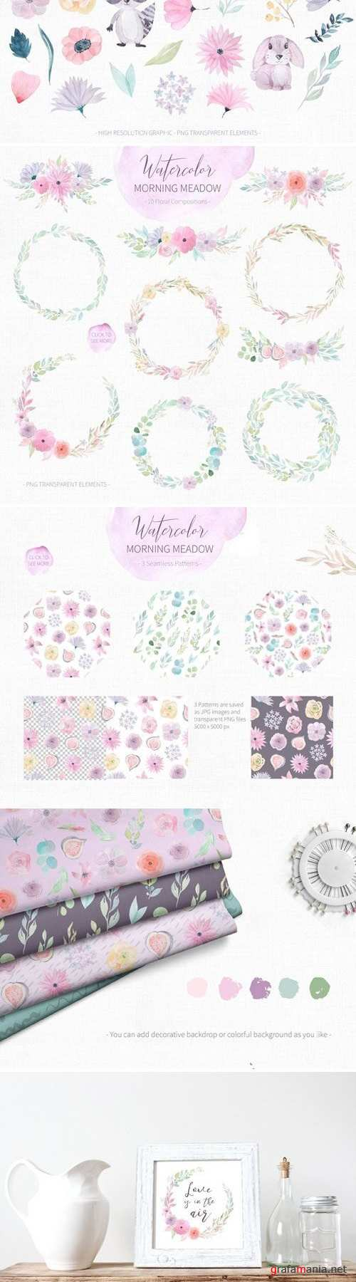 Watercolor Morning Meadow Floral Set 2138791