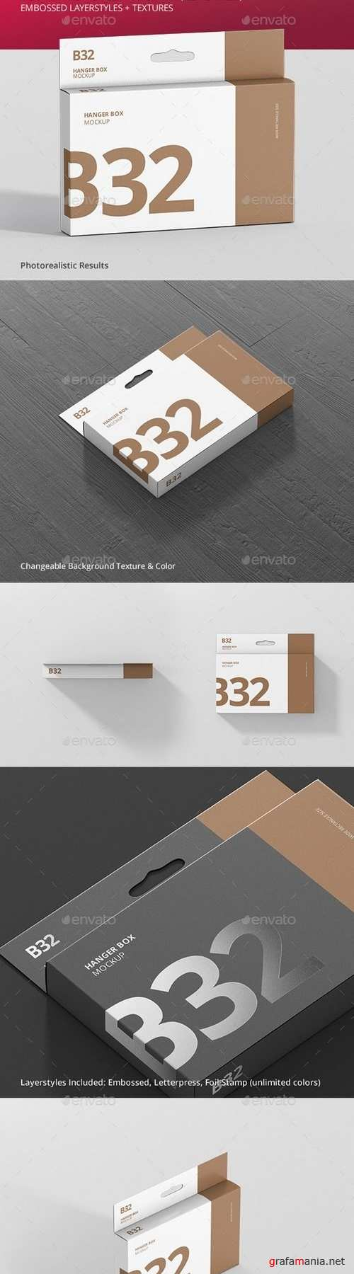 Box Mockup - Wide Slim Rectangle Size with Hanger - 21258176