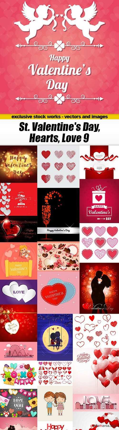 St. Valentine's Day, Hearts, Love #9, 27xEPS