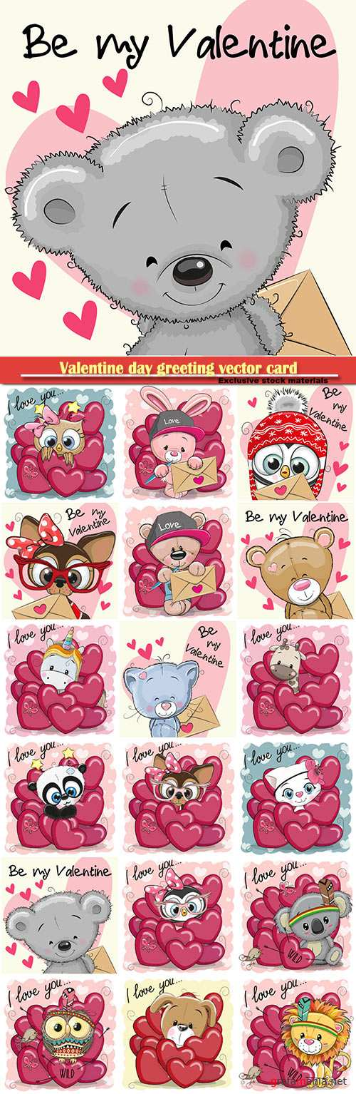 Valentine day greeting vector card, hearts i love you, funny animals # 20