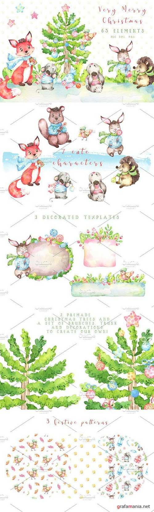 Very Merry Christmas Watercolor set 2095525