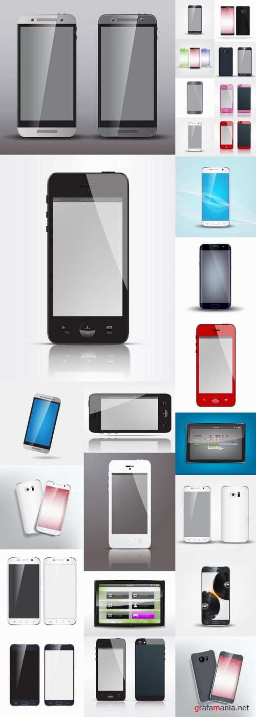 Mobile phone design housing a different color plate 25 EPS