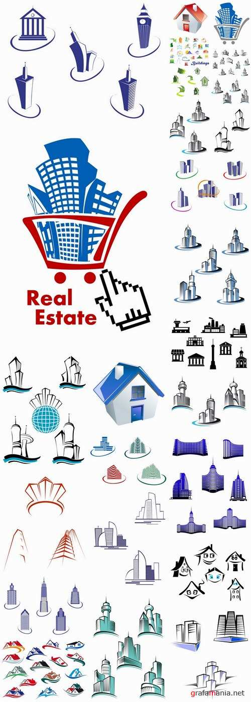 Icon logo house building skyscraper Web site design business campaign 25 EPS
