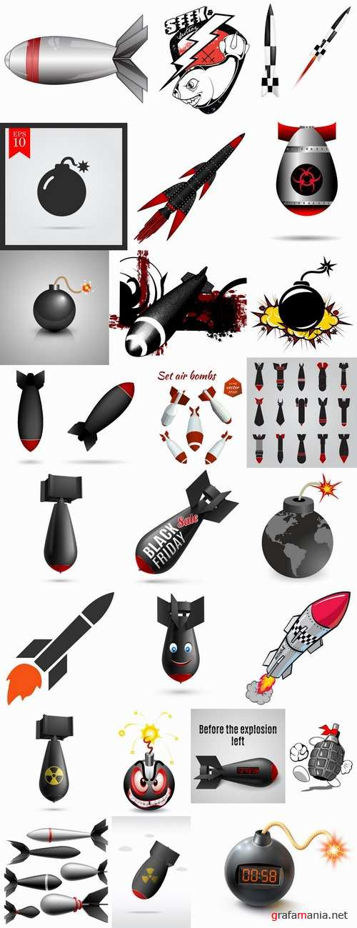 Bomb rocket projectile vector image 25 EPS
