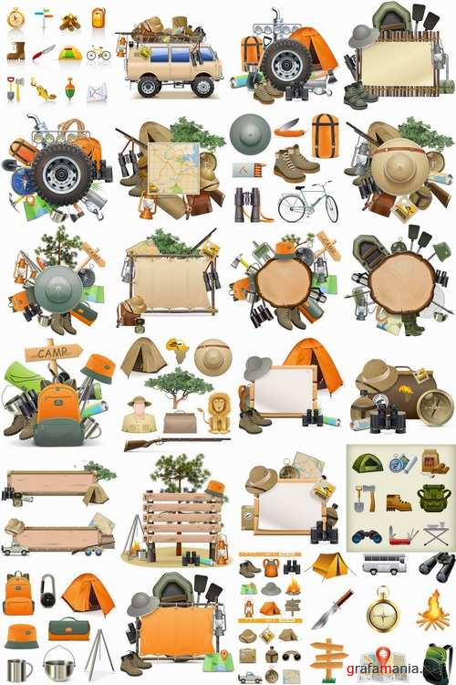Hunting tourism travel outfit items icon vector image 25 EPS