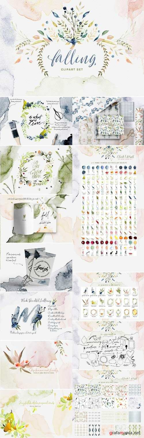 Falling Watercolor Clipart Bundle - 2155217