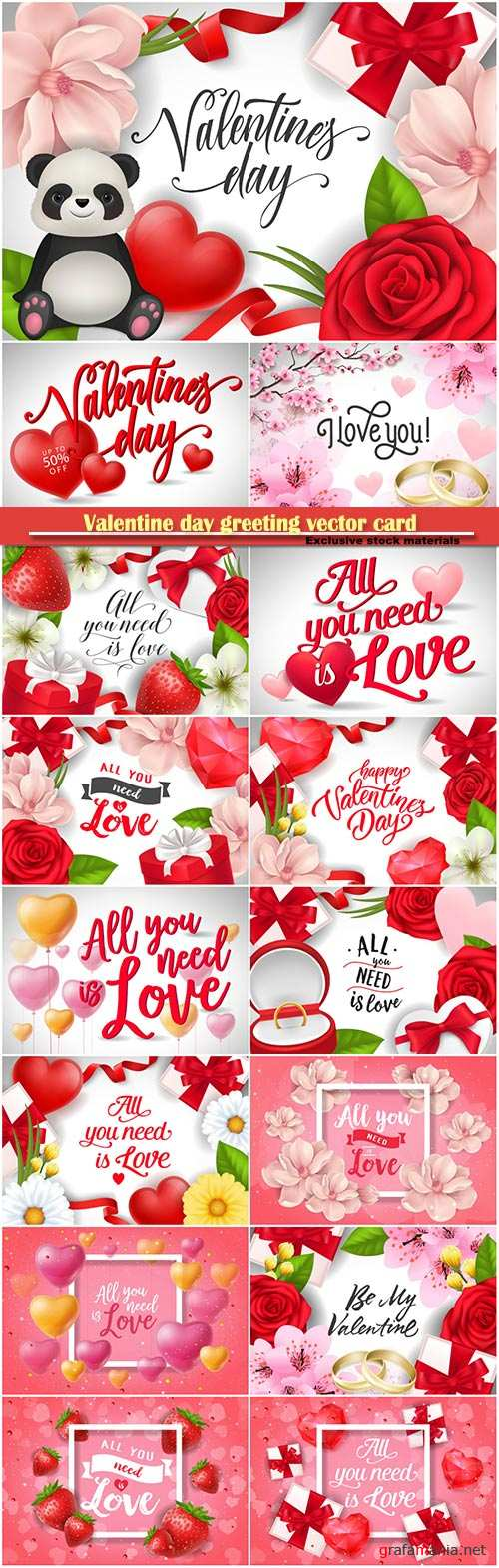 Valentine day greeting vector card, hearts i love you # 24