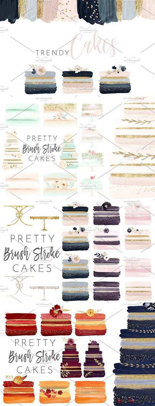 Brush Stroke Floral Watercolor Cakes 2176738
